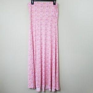 LuLaRoe Pink Print Maxi Skirt